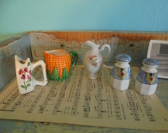 Cute collection of miniatures/ bud vase/pitcher/ salt and pepper shakers/smalls/tiny figurines