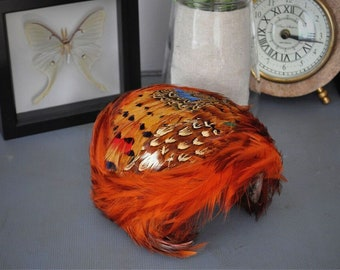 Vintage Ladies Hat // 1930's // Feather Hat // Multicolored Feathers