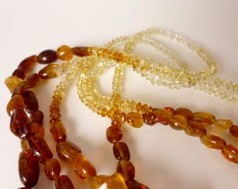 amber and citrine beaded multi strand necklace