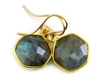 Blue Flash Labradorite Earrings Small Simple Drops Bezel Set Round Drop Octagon 14k Gold Filled  Dainty Faceted Cut