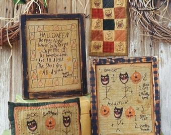 Primitive Halloween Pattern EPattern PDF Black Cats Pumpkin JOL Stitchery Pillow Mini Quilt by Hickety Pickety 074