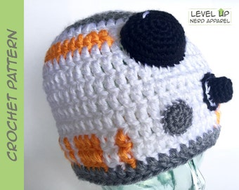 Space Droid II beanie CROCHET PATTERN || 3 sizes || Instant Download