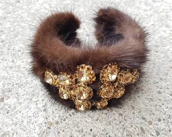 Vintage Mink Fur Cuff Bracelet