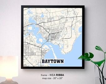 Baytown Texas Map Print, Baytown Square Map Poster, Baytown Wall Art, Baytown gift, Custom Personalized map