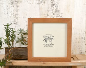 8x8 Square Picture Frame in 1x1 Flat Style with Natural Alder Finish - In Stock Same Day Shipping - 8 x 8 Photo Frame Rustic