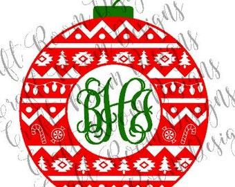 Christmas Aztec Monogram Frame Digital Design