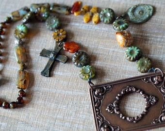 Unlisted - Boho Frame Necklace - Cantina - Cross Necklace - Rustic Chunky Necklace - Primitive Jewelry - Bead Soup Jewelry
