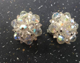 Vintage Aurora Borealis Faceted Bead Cluster Clip On Earrings