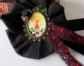 fancy fabric rosette brooch alice Hat Ribbon cezed handmade