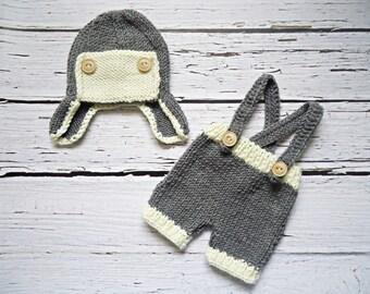 Aviator crochet hat for newborn, Aviator crochet set for newborn, Aviator knit set for newborn