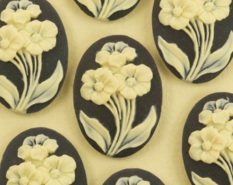 6 Large Black and White Rose Flower Cabochons