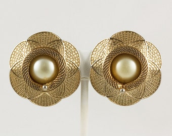 Vintage Goldtone and Large Faux Pearl Clip Earrings, Flower shaped, pressed design, Braided Wire Frame in the Center