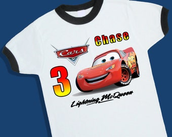 Cars Lightning McQueen Birthday Ringer Tee. Personalized Birthday Shirt with Name and Age. 1st 2nd 3rd 4th 5th 6th Birthday Shirt. (25022)