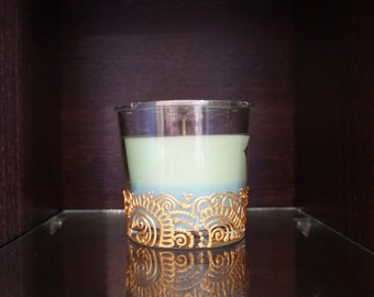 Scented glass candle, henna candle, mehndi candle, gift candle, home decor