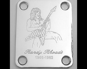 CHROME GUITAR NECK PLATE Custom Engraved Etched RANDY RHOADS Ozzy