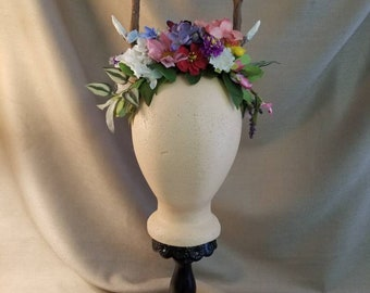 Antler Headpiece with Wildflowers
