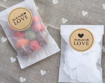 24 Handmade + Made With Love Kraft Paper Round Stickers