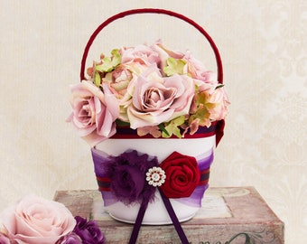 Flower Girl Basket in Plum and Red, Flower Basket, Petal basket, Fall Wedding,  Red Flower Girl Basket