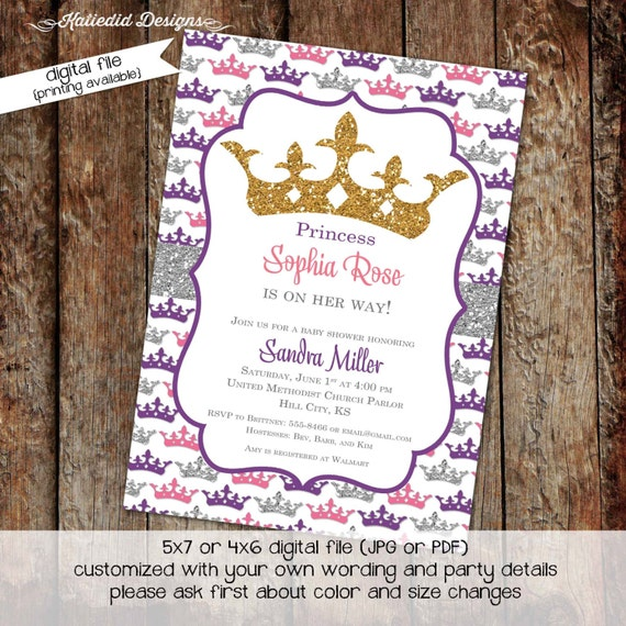 little princess baby shower invitation rustic baby girl shower invitation co-ed baby shower tiara silver gold pink 1305 Katiedid Designs