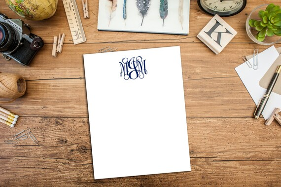 Curly Monogram, Personalized Flat Note cards, Monogram, A2 notecard, Flat note card, Set of ten note cards, cards with envelopes