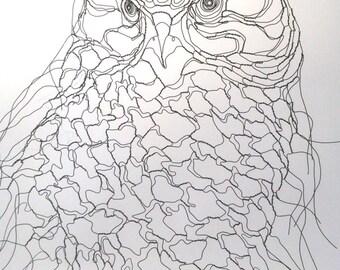 """Owl Spirit Wire Sculpture 16"""" x 20"""" Wall Art by Wire Sculptor Elizabeth Berrien"""