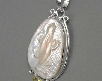 Lizard Fossil Elongated Oval Cameo Shell Lemon Quartz Silver Pendant p710