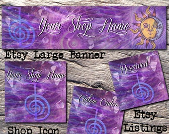 ETSY LARGE COVER Complete Set-Mystical Fantasy Cover Photo-Premade Yoga Etsy Set-New Age Etsy- Watercolor Etsy Banner - Sun Moon- #118