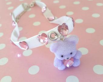 Tiny Teddy Choker - Cute Fairy Kei Kawaii