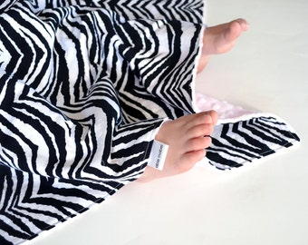 Baby Girl Minky Blanket - 20x20 Zebra Print