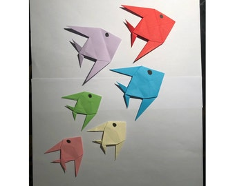 Origami Fishes (10 pieces-optional colour), Paper-fold fishes, Origami Decoration, finished origami, paper fishes for parties