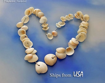 Drilled Seashells (50), Natural Drilled Seashells, Ocean Shells from Florida, Drilled Seashells in Shades of White, Cream and Beige