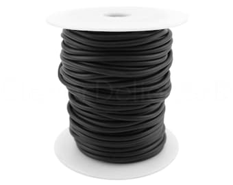 """10 Yds - Solid Rubber Cord - 3mm (3/32"""") - Black Color - Premium Solid Rubber Cording - For Beading, Jewelry, Crafts, Necklaces"""
