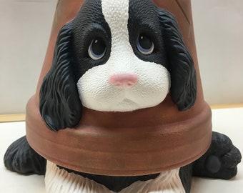 Handmade ceramic Spaniel flower pot