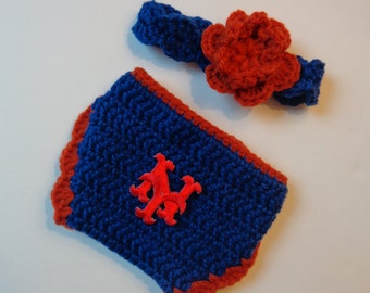 Newborn Crochet NY Mets Headband and Diaper Cover Photo Prop Baby Girl