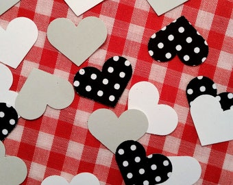 "Hearts, 1"" ~ Black & White Dotted with Gray and White Hearts Confetti Mix, Color on Both Sides, Baby Shower, Wedding, Flower Girl Toss"