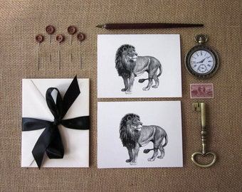 Lion Note Cards Set of 10 with Matching Envelopes