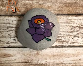 Painted Rock - Purple Flower