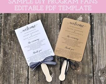 Wedding Program Fan Template, Printable Fan Wedding Programs, DIY Wedding Fans, Wedding Program Fan, Editable Wedding Program, W101
