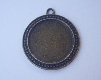 Flatback metal pendant bronze 40 mm