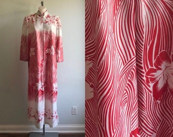 Vintage Judy Gail Lounge Robe, 1960s Robe,  Vintage Caftan, Judy Gail, White and Red Lounge Robe, Ladies Robe, Lounge Wear