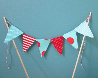 Cake Topper -Dr. Seuss flag Bunting -Aqua Red White -Cake Bunting -Mini Birthday Banner  Bunting