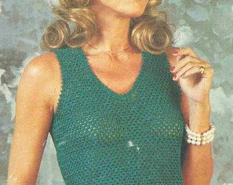 2438R Ladies  jumper  crochet vintage pattern PDF instant download