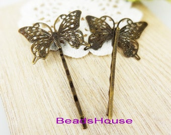 20%off HC-27-00A  4pcs Antique Brass Bobby Pin With Butterfly Filigree, NICKEL FREE