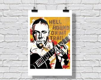 """12 x 18"""" - Robert Johnson art print - Robert Johnson poster - Blues music art - blues music poster - Delta blues player - pop art poster"""