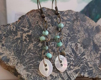 Antique Shell Button Dangle Earrings
