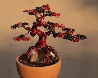 Red & Black Root Rock wire bonsai sculpture