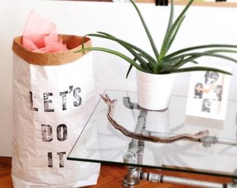 Let's Do It - Paperbag storage, handmade letterpress design Sac de rangement, Sac en papier, Paper bag, Papiertüte Aufbewahrung cadeau, gift