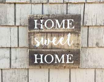 Rustic Home Sweet Home Sign, Farmhouse Sign, Pallet Sign, Housewarming Gift, Ready to Ship, Welcome Sign, Rustic Decor