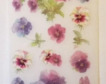 Miss Elizabeths Pansies Vellum Sticker Sheet Single Sided Acid Free Lignin Free