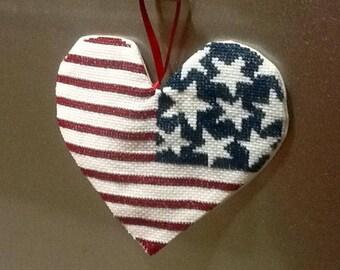 Decoration of door theme: American flag heart